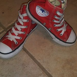 Kids size 12 red high top converse